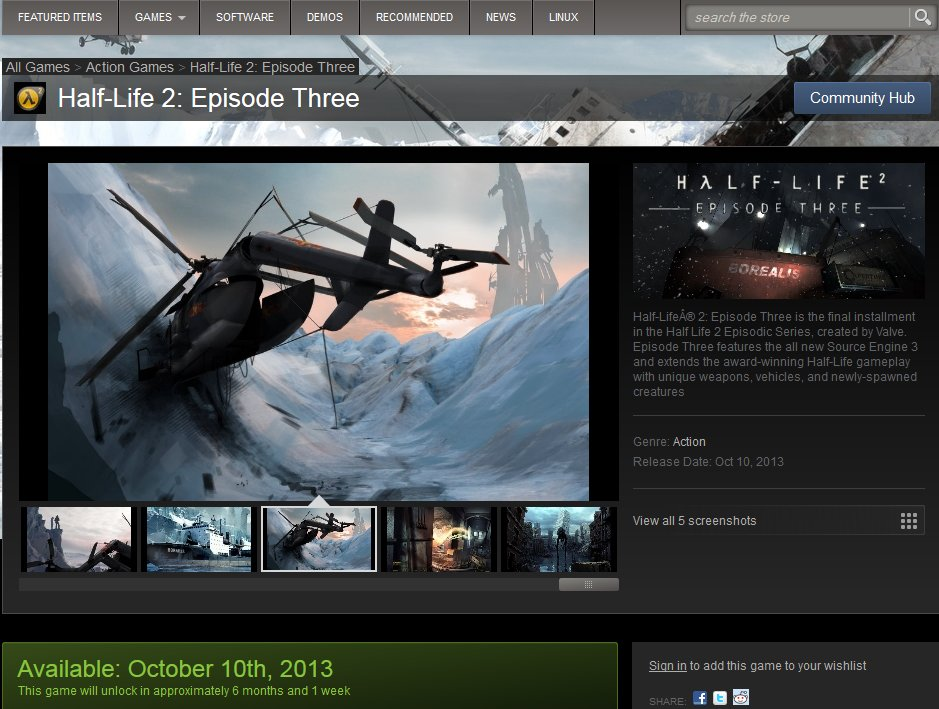 Half-Life 2: Episode 3 appears on Steam Store, no, wait, the