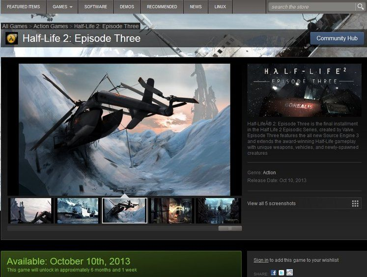 Half-Life 2: Episode 3 appears on Steam Store, no, wait, the Stteam Store
