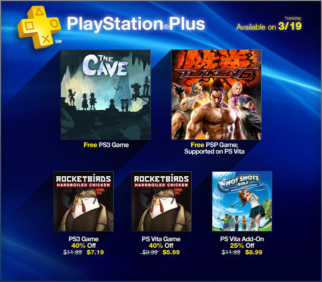This week's PSN Plus deals for US gamers include free The Cave, Tekken 6