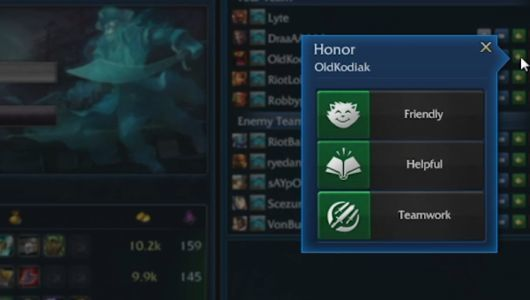 Honor system implemented in League of Legends