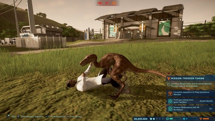 Is the first Jurassic World Evolution expansion a T-Rex or a Compy?