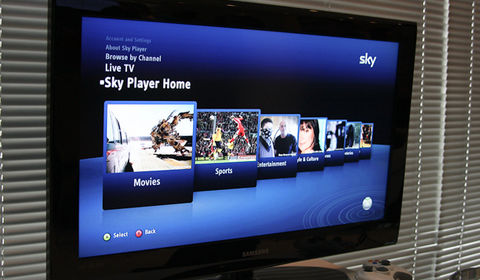 Sky Player is a go on Xbox Live, airing 24 channels to subscribers