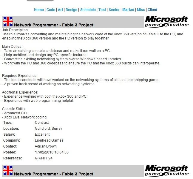 Rumour-mill: Microsoft job ad reveals PC Fable III plans, now pulled