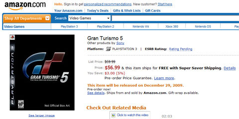 Amazon list Gran Turimso 5 for December 29th, pre-order at $56.99