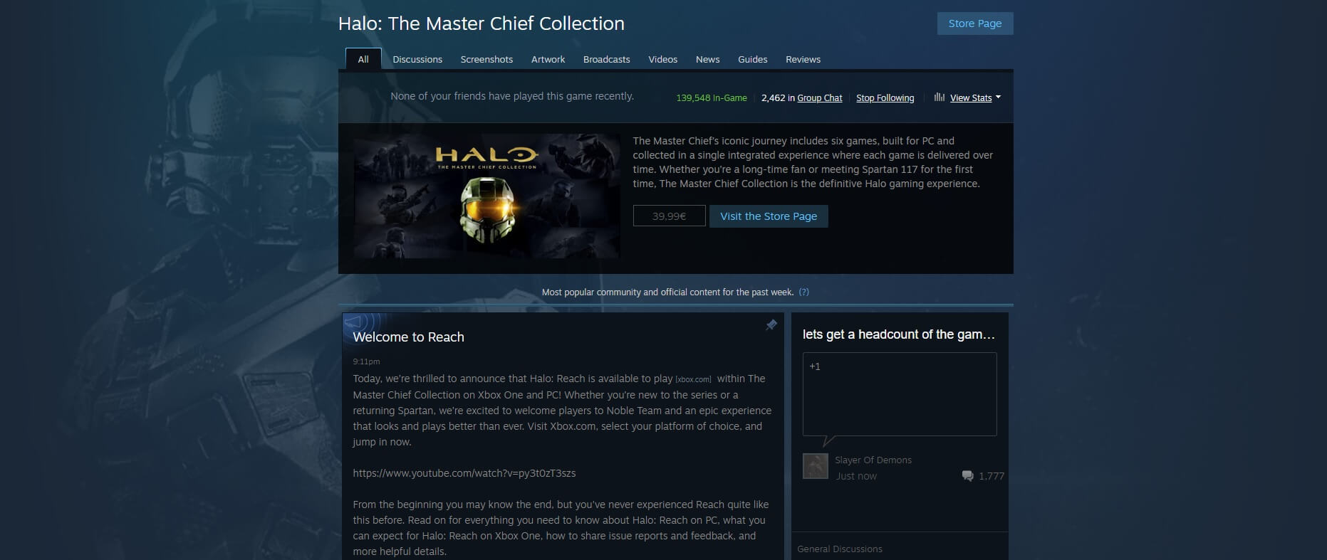 Halo The Master Chief Collection Steam Player Count