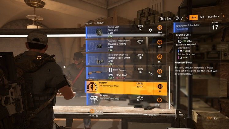 The Division 2 Blueprints Vendor Location