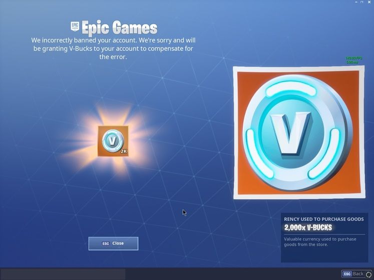 Epic Games are handing out 2000 V-Bucks to Players with wrongly banned accounts in Fortnite