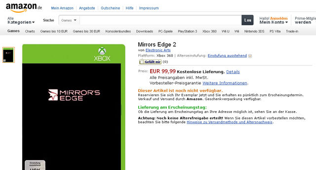 Mirror's Edge 2 appears on Amazon in Germany