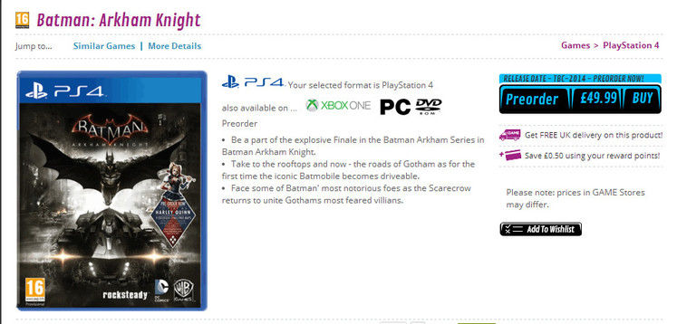 Retailer GAME lists Batman: Arkham Knight the