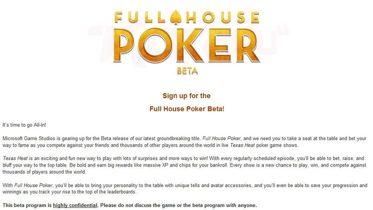 Microsoft launch Full House Poker beta, 1 vs. 100's replacement