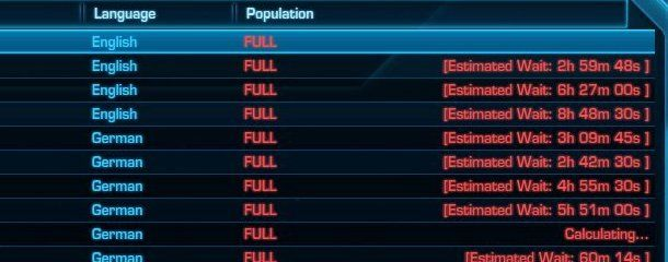 Insanely long wait times on The Old Republic servers